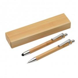 set stylo porte mine bambou